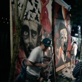 Dueling Muralist's at Art All Night Trenton NJ 2013