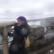 Through the looking glass, in front of the horseshoe falls Niagara Falls Ontario Canada 2015