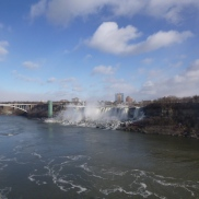 Rainbow Bridge and Horseshoe Falls from Niagara Falls Ontario Canada